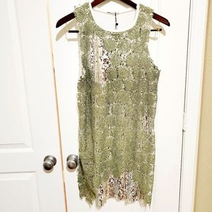 Zara silver sequin/green lace dress L NWT